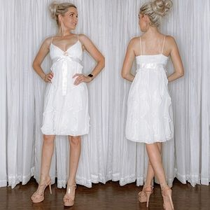 White Ruffle Bridal Party Dress